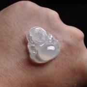 冰种起荧翡翠弥勒佛挂件-E14