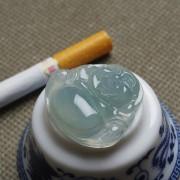 起荧睛水玻璃种翡翠笑佛-4N03