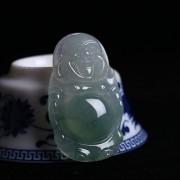 冰种飘绿花起荧翡翠弥勒立佛-8AM04