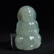 木那浅绿冰种翡翠正桩观音玉佩-10DU05