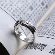 开口双龙招财貔貅辟邪财神咒真言转运银戒指