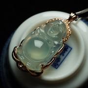 起荧玻璃种翡翠弥勒立佛玫瑰金伴钻吊坠-25FF11