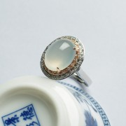 冰莹翡翠蛋面18K玫瑰白金吊坠戒指(两用)-11HG06
