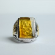 净水金珀阴雕龙腾银戒指-10KJ07