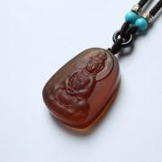 棕红缅甸琥珀宝瓶观音吊坠-22KQ10