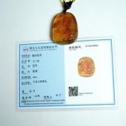 棕红缅甸琥珀千手观音菩萨吊坠-31KR02