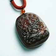 棕红缅甸琥珀千手观音菩萨吊坠-31KR06