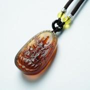棕红缅甸琥珀文殊菩萨吊坠-31KR16