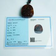 棕红缅甸琥珀千手观音吊坠-31KR29